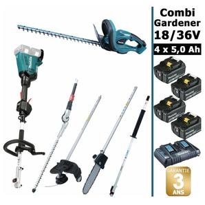 Pack 18/36V Combi Gardener: outil multifonction 36V avec 4 accessoires + taille haie 18V 52cm + 4 batt 5Ah MAKITA DUX60 DUH523