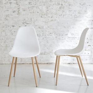 Chaise scandinave blanche piétement compas