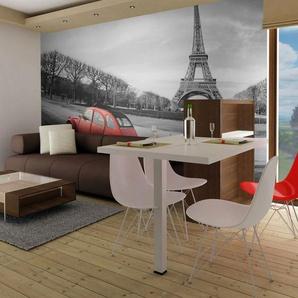 Papier peint - Tour Eiffel et voiture rouge