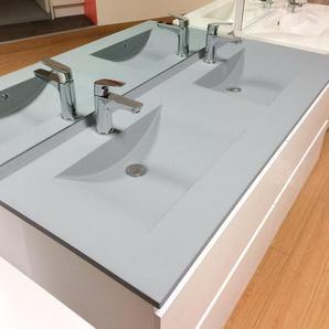 Meuble double vasque ARLEQUIN 140x55 cm avec plan vasque et miroir Prestige - Coloris au choix | gris - blanc