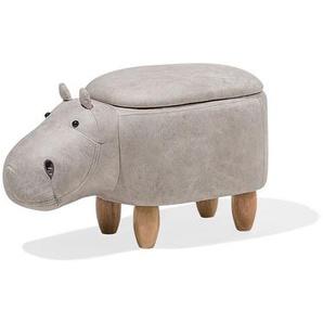 Pouf animal hippopotame en simili-cuir gris clair avec rangement