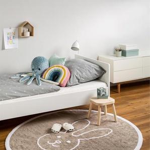 Tapis lavables pour enfants Bambini Bunny Beige ø 150 cm rond - Tapis lavable pour chambre denfants/bébé