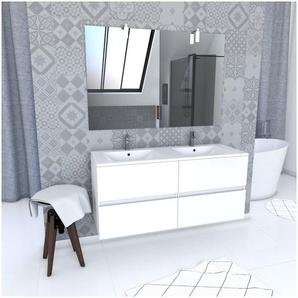 Ensemble Meuble de salle de bain blanc 120cm suspendu a 2 tiroirs + vasque ceramique blanche + miroir applique led - STARTED pack 60 - AURLANE