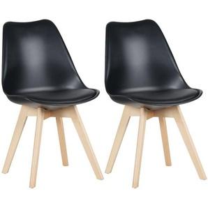 Mevik - Lot de 2 Chaises Noires