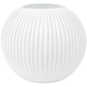 Vase boule en verre strié blanc H22