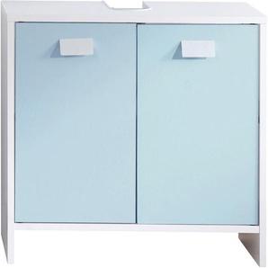 Meuble sous vasque blanc et bleu 2 portes 1 étagère