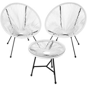 2 Fauteuils Acapulco et 1 Table de Jardin de Salon Design rétro Cadre en Acier Blanc - TECTAKE