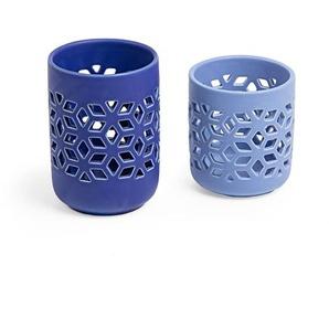 Kave Home - Set Leti de 2 bougeoirs bleu