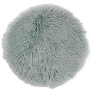 Galette de chaise imitation fourrure bleu gris