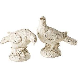 2 statuettes oiseaux écrues effet vieilli H21