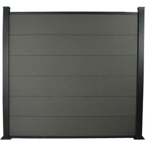 Kit Clôture 4.8x1.6m composite et aluminium + profilés de finitions - Gris foncé - Kit de fixation offert - HABITAT ET JARDIN
