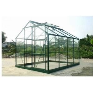 Serre en verre trempé 4 mm modèle 86 + Base - 4.7 m² - Aluminium peint vert - LA MAISON DU JARDIN
