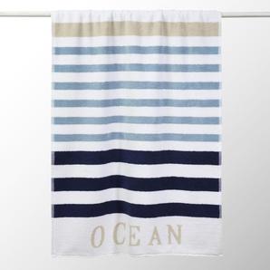Drap de bain rayé en coton bleu 70x140