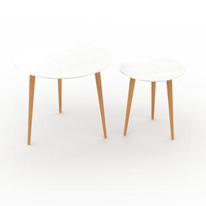 Tables basses gigognes - Blanc, ronde/ronde, design scandinave, set de 2 tables basses - 60/40 x 50/44 x 60/40 cm, personnalisable