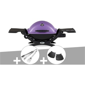 Barbecue gaz Weber Q 1200 Purple + Kit Ustensile + Plan travail