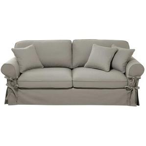 Canapé-lit 3/4 places en coton gris clair, matelas 6 cm Butterfly