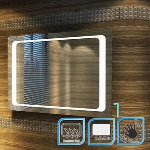 SIRHONA Miroir led 90x60 CM Miroir de salle de bains avec éclairage LED Miroir Cosmétiques Mural Lumière Illumination avec Commande par Effleurement et demister