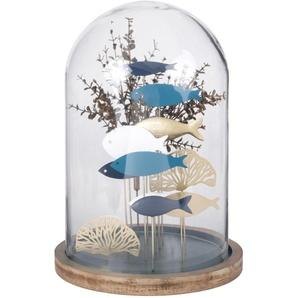 Statue décor sous-marin sous cloche en verre H40