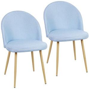 2x chaise de salle à manger chaise inclinable chaise chaise de maquillage jambe en métal Bleu clair - JEOBEST