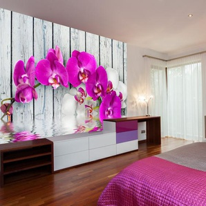 Papier peint - Violet orchids with water reflexion