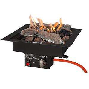 Easyfires Brûleur encastrable en Acier Inoxydable Noir 40 x 40 x 16,5 cm Noir