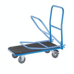 EUROKRAFT Chariot plate-forme de magasin - avec barre de poussée rabattable - plate-forme en MDF