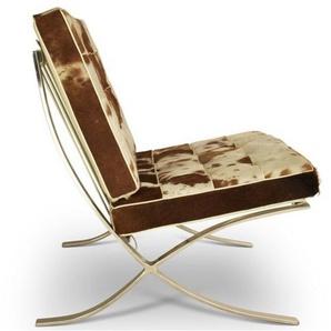 Chaise et ottoman Barcelona - Marron   blanc