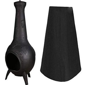 chengsan Housse de Protection pour Foyer, extérieur de Patio, cheminée imperméable pour extérieur H 84 (33) x Dia Top 21 (8) x Dia Bottom 48 (19) Noir
