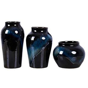 Vase haute température couleur émaillage four vase en céramique phase noire et bleue décoration méditerranéenne maison grande bouche