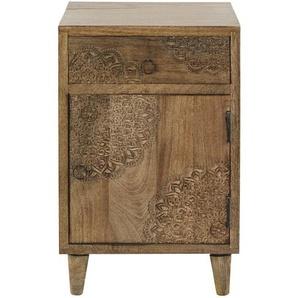 Table de chevet 1 porte 1 tiroir en manguier massif sculpté Anja