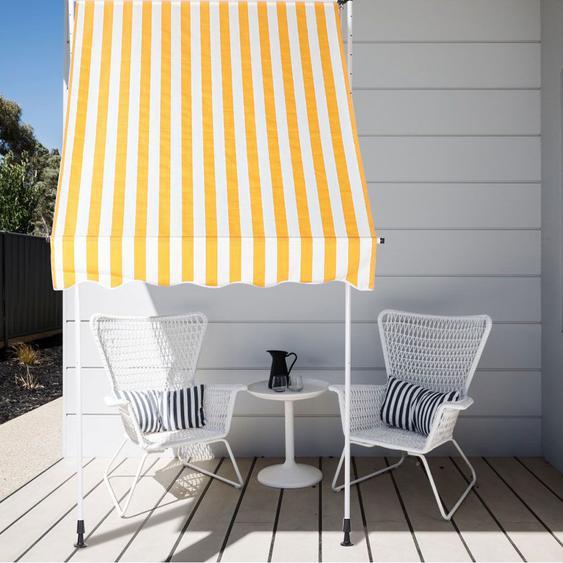 1.5x1.2m Auvent de Porte de Fenêtre Rétractable Manuel Auvent de Jardin pour Cour Jardin Maison(Bande jaune et blanche )