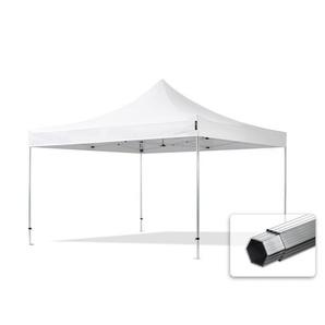 4x4 m Tente pliante - Alu, PVC 620g/m², anti-feu, blanc