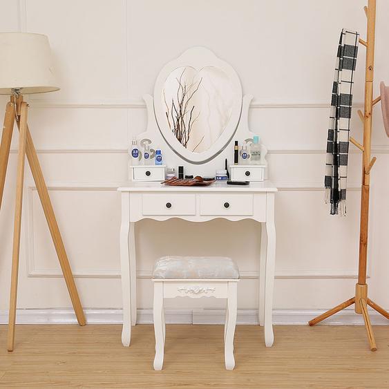 75 x 40 x 138 CM Coiffeuse table de maquillage avec miroir et 4 tiroirs, Coiffeuse en MDF et en bois de pin massif - OOBEST