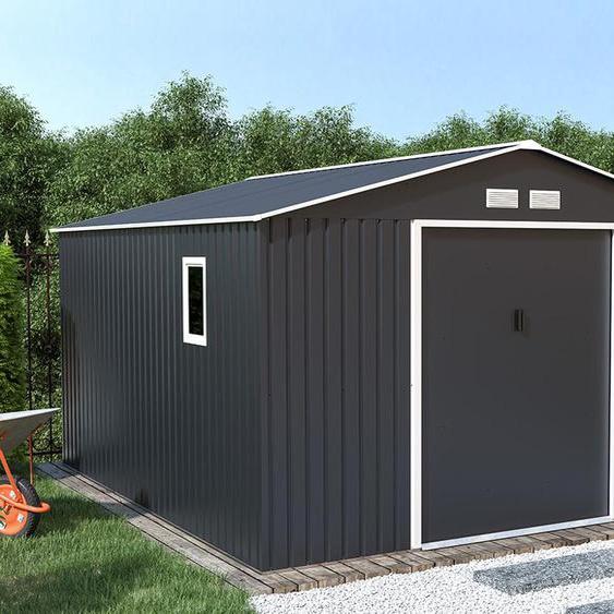 Abri de jardin ARCHER en acier galvanisé gris -  12,99m²