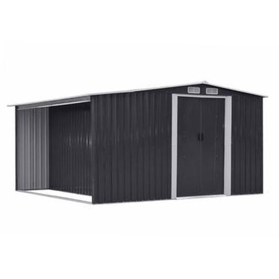 Abri de jardin en acier galvanisé gris LERY - 10,5m²