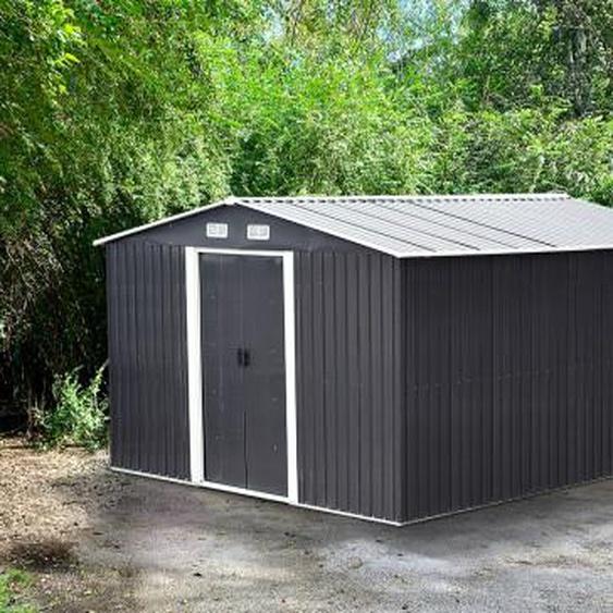 Abri de jardin en acier galvanisé gris MANSO - 13m²