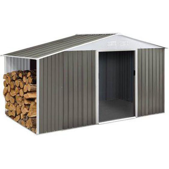 Abri de jardin métal Dallas 5,29 m² avec abri bûche