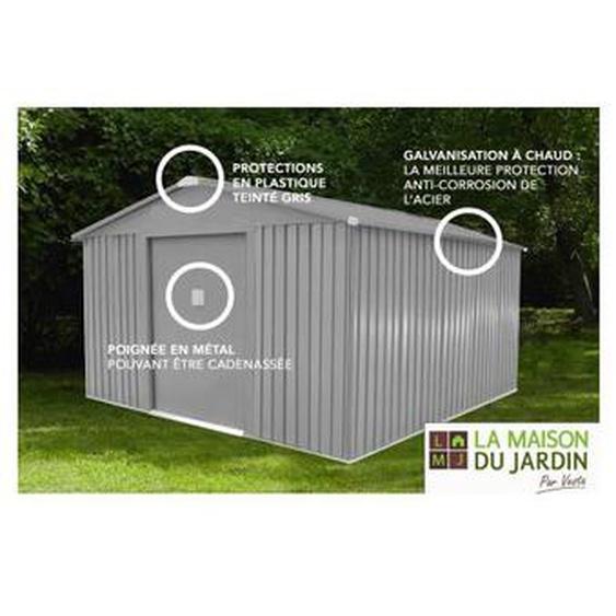 Abri de jardin métal LMJ 13,5 m² RAL 7037 - Galvanisé à chaud = 1 porte outils OFFERT - LA MAISON DU JARDIN