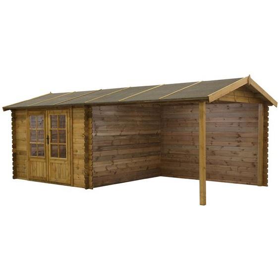 Abri de jardin ROCHESTER en bois autoclavé traité classe III - 17,5m² - toit en feutre bitumé
