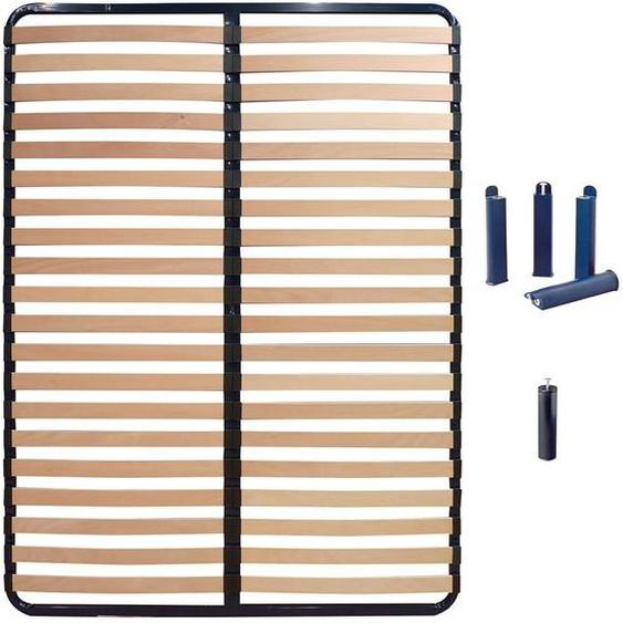 ALTOLATTES - Pack Sommier 2x20 Lattes 140x190cm + Pieds bleus + Pied central