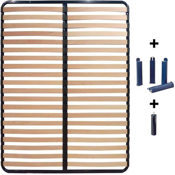 Altobuy - ALTOLATTES - Pack Sommier 2x20 Lattes 140x200cm + Pieds bleus + Pied central