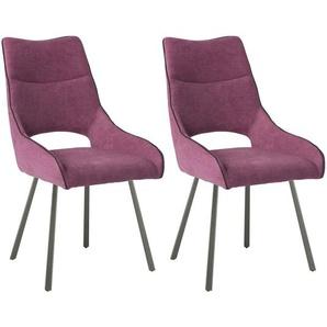 Amado - Lot de 2 Chaises Tissu Coloris Violet