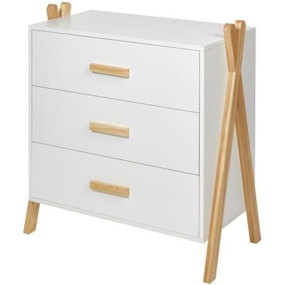 AMAROK Commode enfant - Pin massif et MDF - Blanc/naturel - Style scandinave - L 76 cm