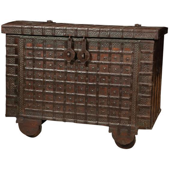 Biscottini - Ancien baule/ coffre en bois et fer
