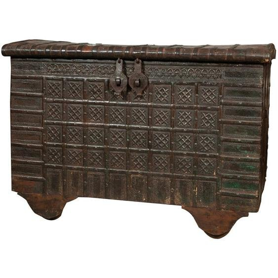 Ancien baule/ coffre en bois et fer - BISCOTTINI