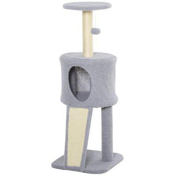 Arbre à chat griffoir grattoir centre dactivités plateforme niche boule suspendue gris