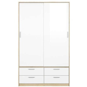 Armoire 2 portes + 4 tiroirs LAKE coloris blanc/chêne sonoma