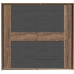 Armoire 2 portes coulissantes DOLCE COTTAGE coloris chêne noble et chêne noir