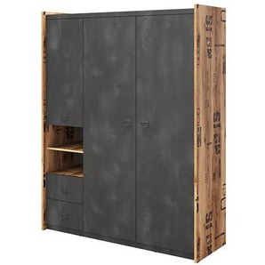 Armoire 3 portes FARGO chambre ado - Graphite