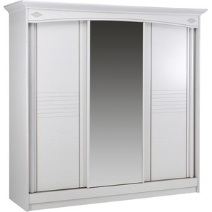 Armoire blanche 3 portes coulissantes à  glace centrale